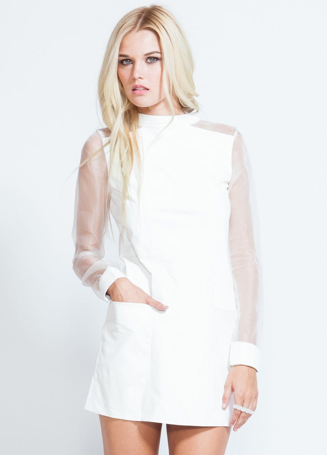 Minimalist At It S Best White Leather Dress Runway Dresses Dresses [ 1563 x 1125 Pixel ]