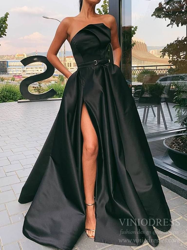 Thigh Split Strapless Black Satin Prom Dresses With Pockets Fd2272 In 2021 Prom Dresses Long Prom Dresses Prom Party Dresses [ 1024 x 768 Pixel ]