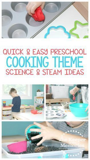 4 Quick & Easy Cooking Preschool Monthly Theme Science & STEAM Activities for Little Kids Here are four quick & easy cooking preschool monthly theme science & STEAM activities. Teach little kids how to set the table and use kitchen tools. Pretend to bake together. And of course let them mix and measure to their heart's content. I'm willing to bet that your little kids will be begging for more!