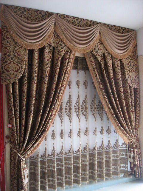 Luxury European Style Jaquard Window Curtains Drapes