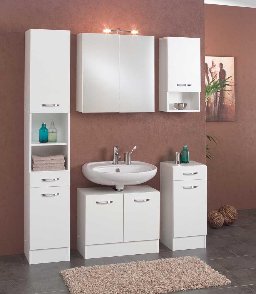Badezimmer Set in Weiß mit Spiegelschrank (5teilig) Jetzt