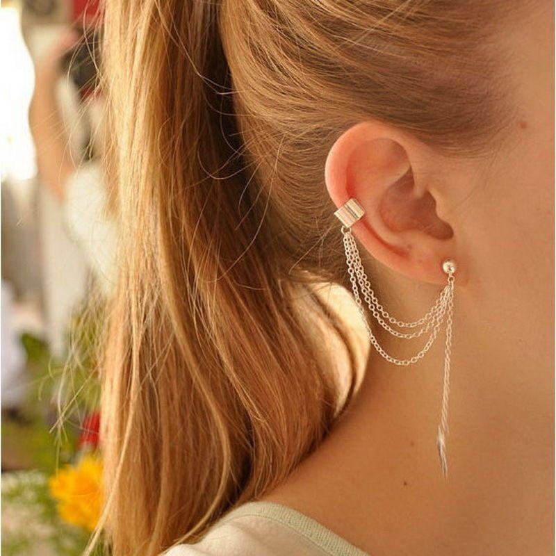 Silver Plated Chain Alluring Piercing Leaf Cuff Dangle Stud Tassel Earrings #Handmade #Stud