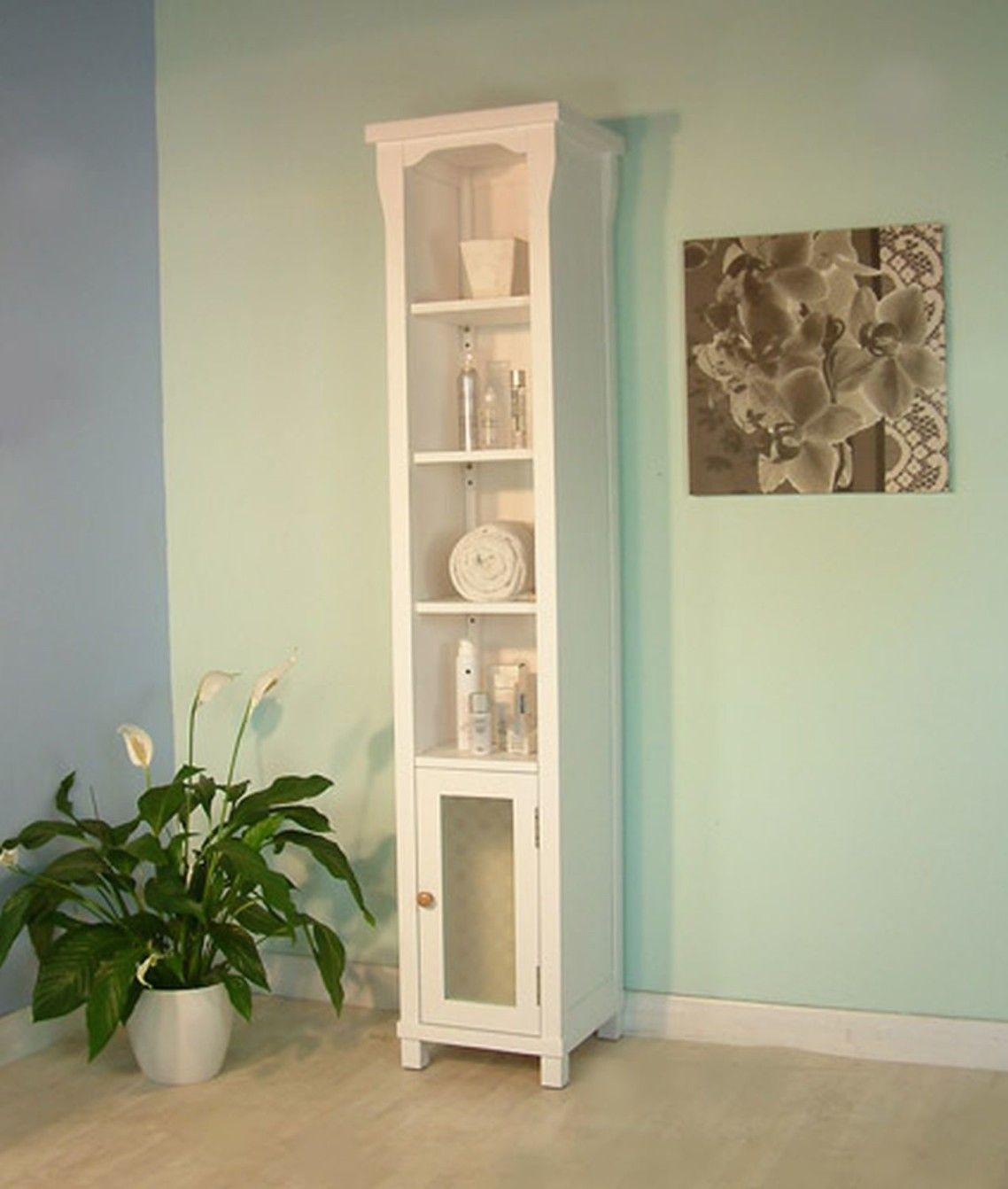 Awesome Skinny White Painted Wooden Cabinet With Small Glass Door