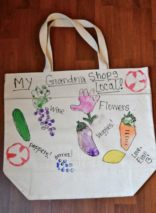 Make A Mothers Day Farmers Market Bag Using Kids Hand And Foot Prints For The Vegetables