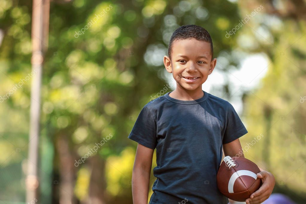 Cute Little African American Boy With Rugby Ball In Park Stock Photo Affiliate American Boy Cute Af African American Boys African African American