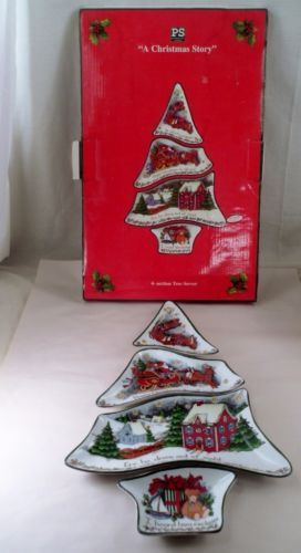 MIB HTF Portmeirion A Christmas Story 4 Section Christmas Tree Server Dishes & MIB HTF Portmeirion A Christmas Story 4 Section Christmas Tree ...