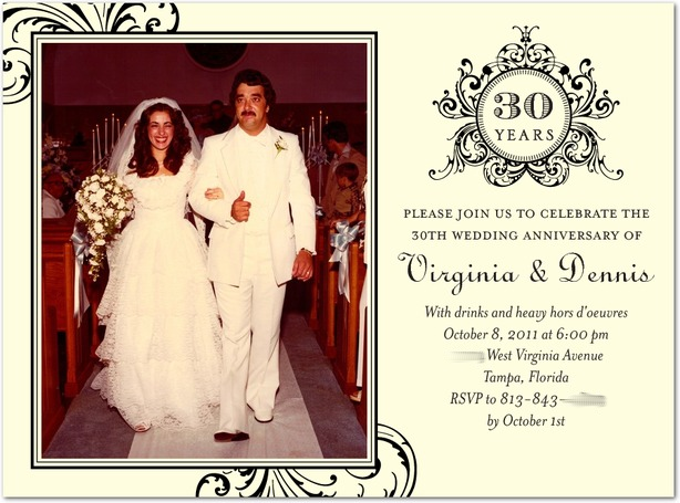 Invitation for a 30th Anniversary party 30th wedding