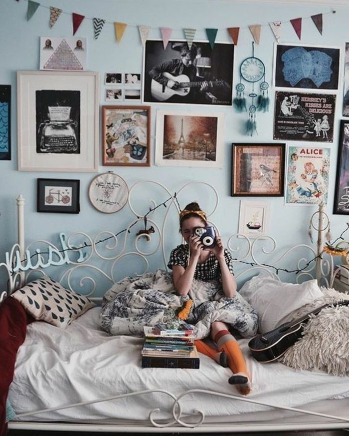 décoration chambre ado fille bohème, lit vintage, décoration ...
