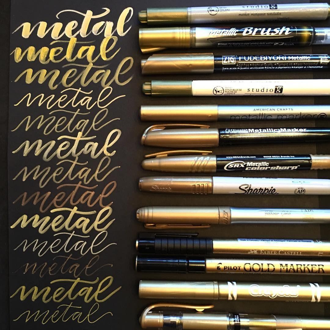 I Ve Been Loving Lettering With Metallic Pens On Black Paper
