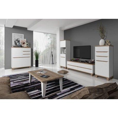 Salon complet LIER style scandinave nordique blanc et bois Salon