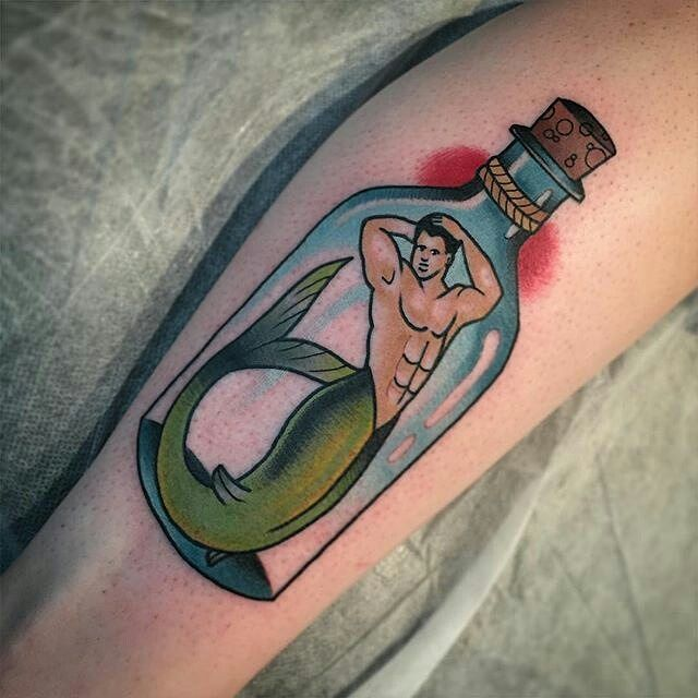 Tattoo Designs Qld: Bottled Merman Tattoo By @mitch13tattoodtd In Noosa Heads