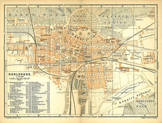 Vintage City Maps 1896 Karlsruhe Germany Original Vintage City Map, Baedeker