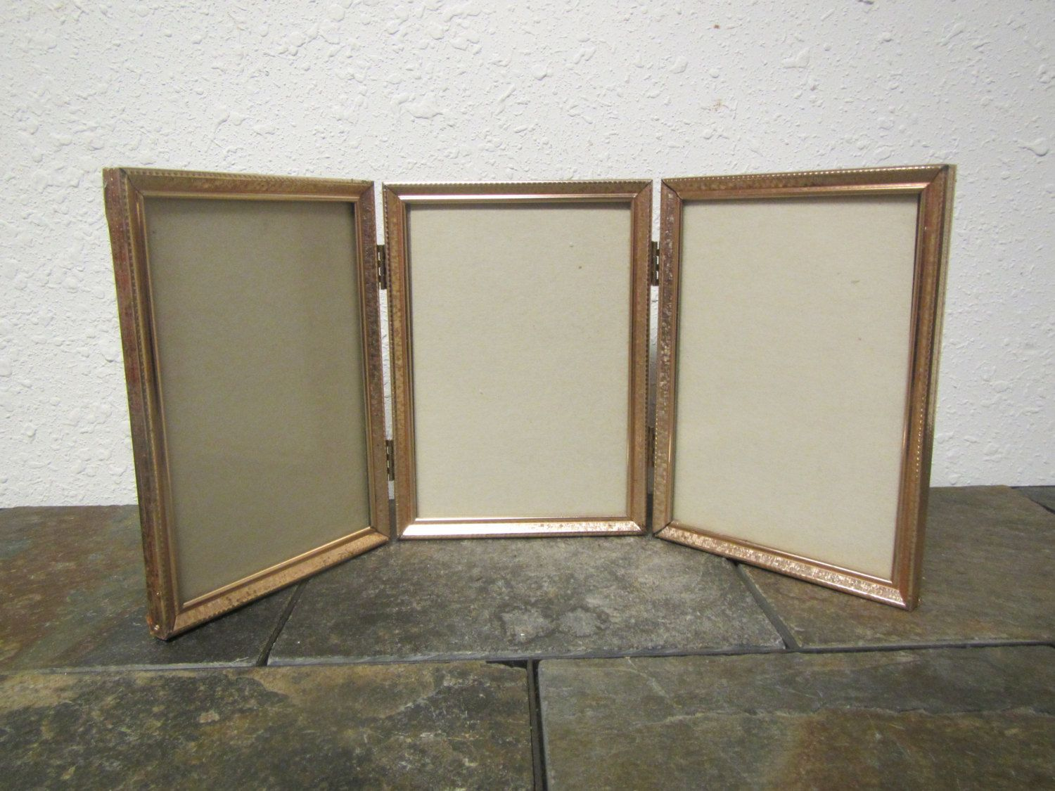 vintage Triple hinged 5 by 7 Gold tone finish picture frames with ...