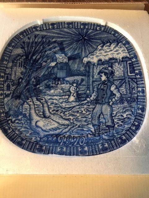 vintage julen rorstrand fisherman homecoming christmas plate 1970 christmas plate