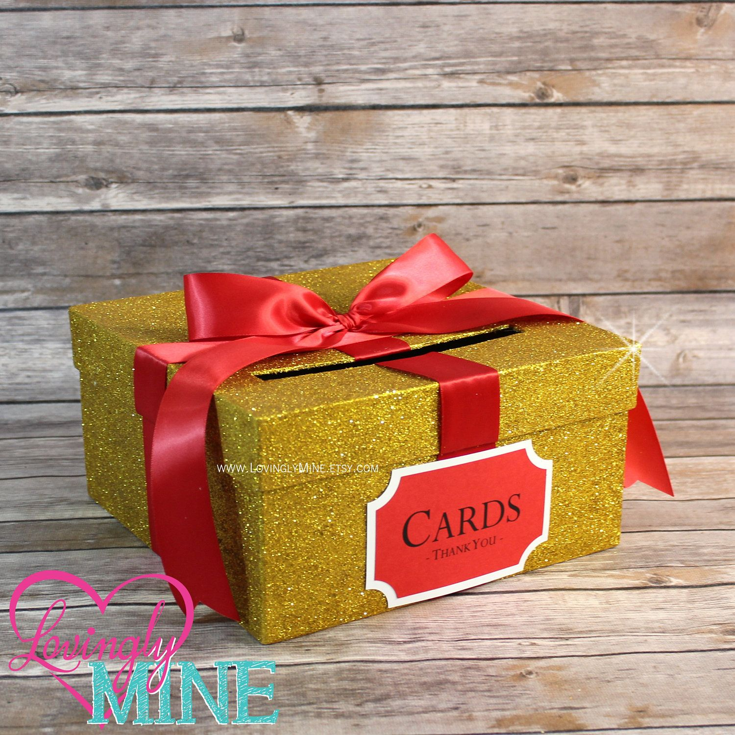 Card Box Glitter Yellow Gold Red Gift Money Box For Any Event
