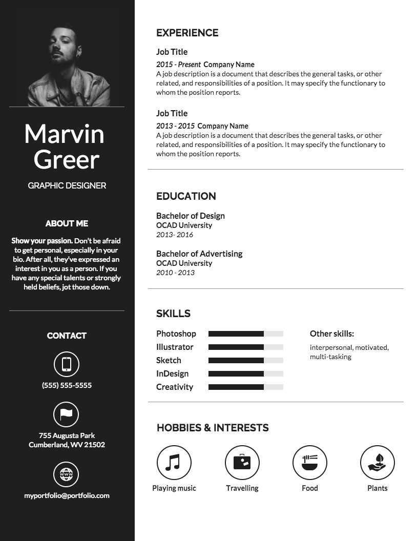 Simple Professional Resume Infographic templates, Resume