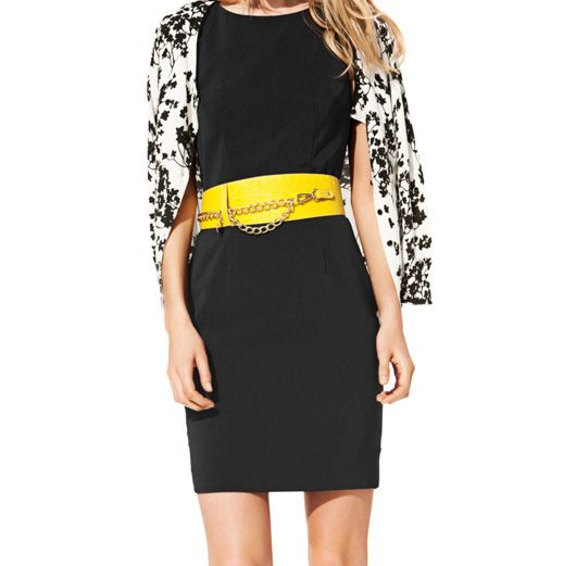Black dress yellow belt
