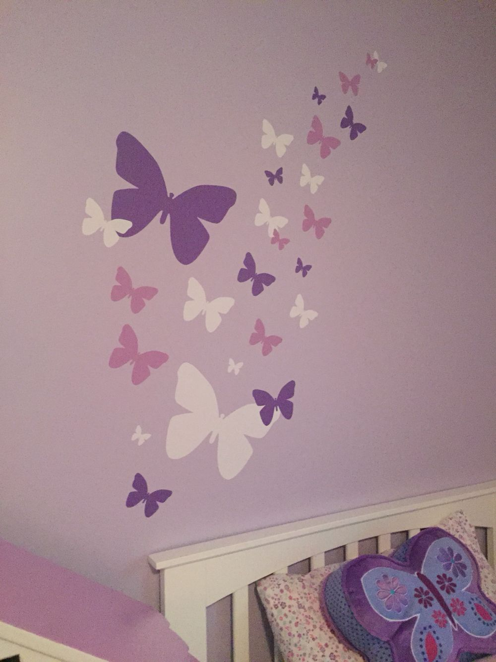 Butterfly themed room - so easy. Decals from amazon ...