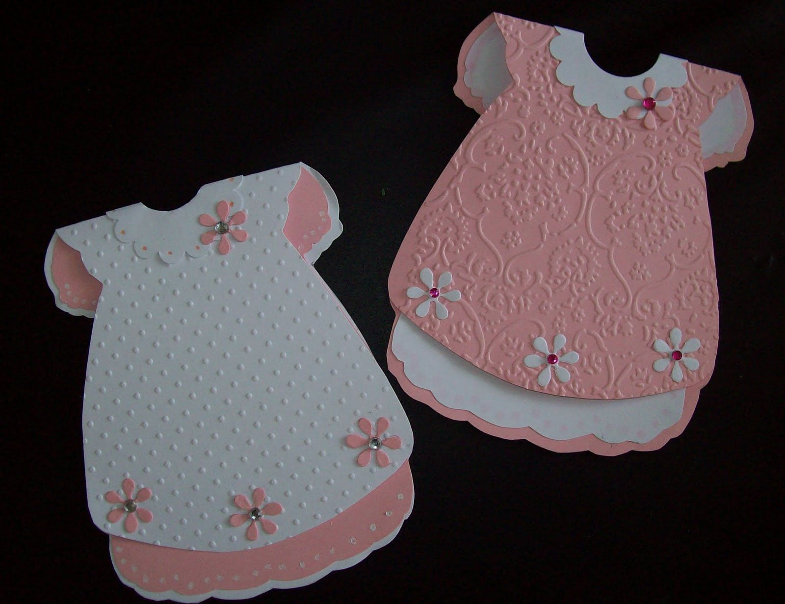 Two cute baby dress cards from a template I got from stampington