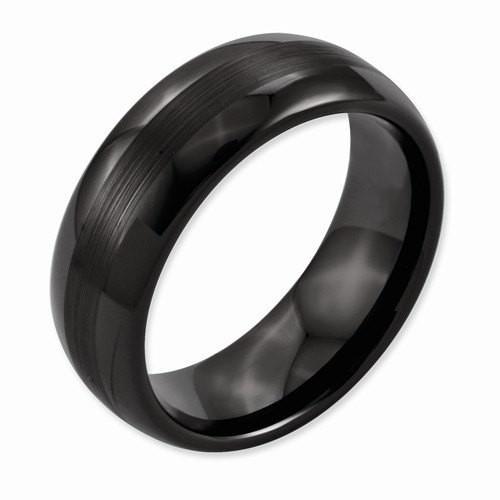 For Matt Men S Wedding Band Ceramic Black 8mm Brushed And Polished Band Udinc0387 Black Ceramic Ring Mens Wedding Bands Ceramic Wedding Bands