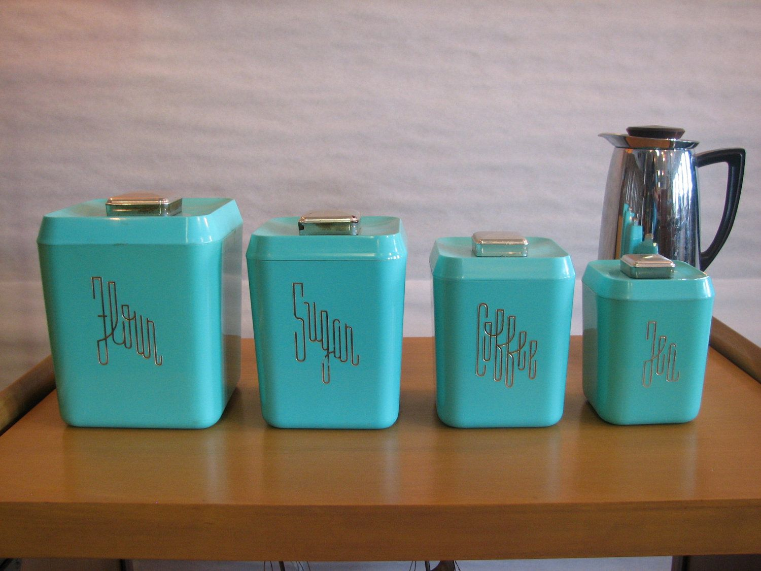 Mid Century Modern, Vintage 1950s, 60s Plastic Kitchen Canisters. $60.00, I  Love