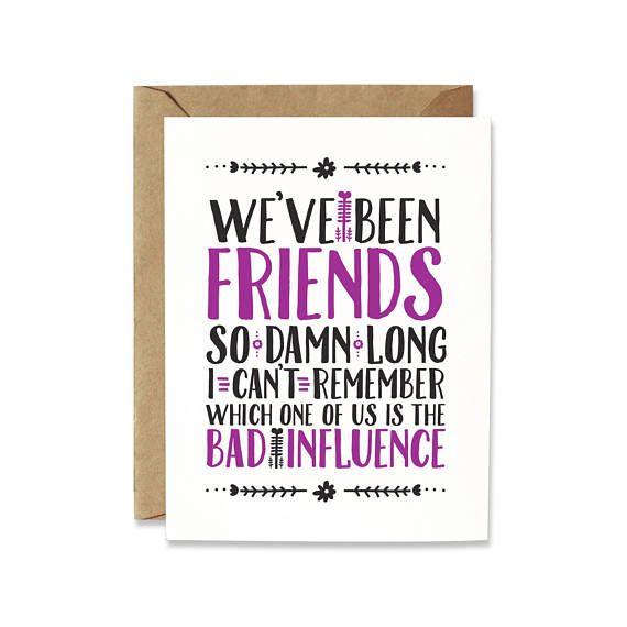 Funny Friendship card Birthday card for friend