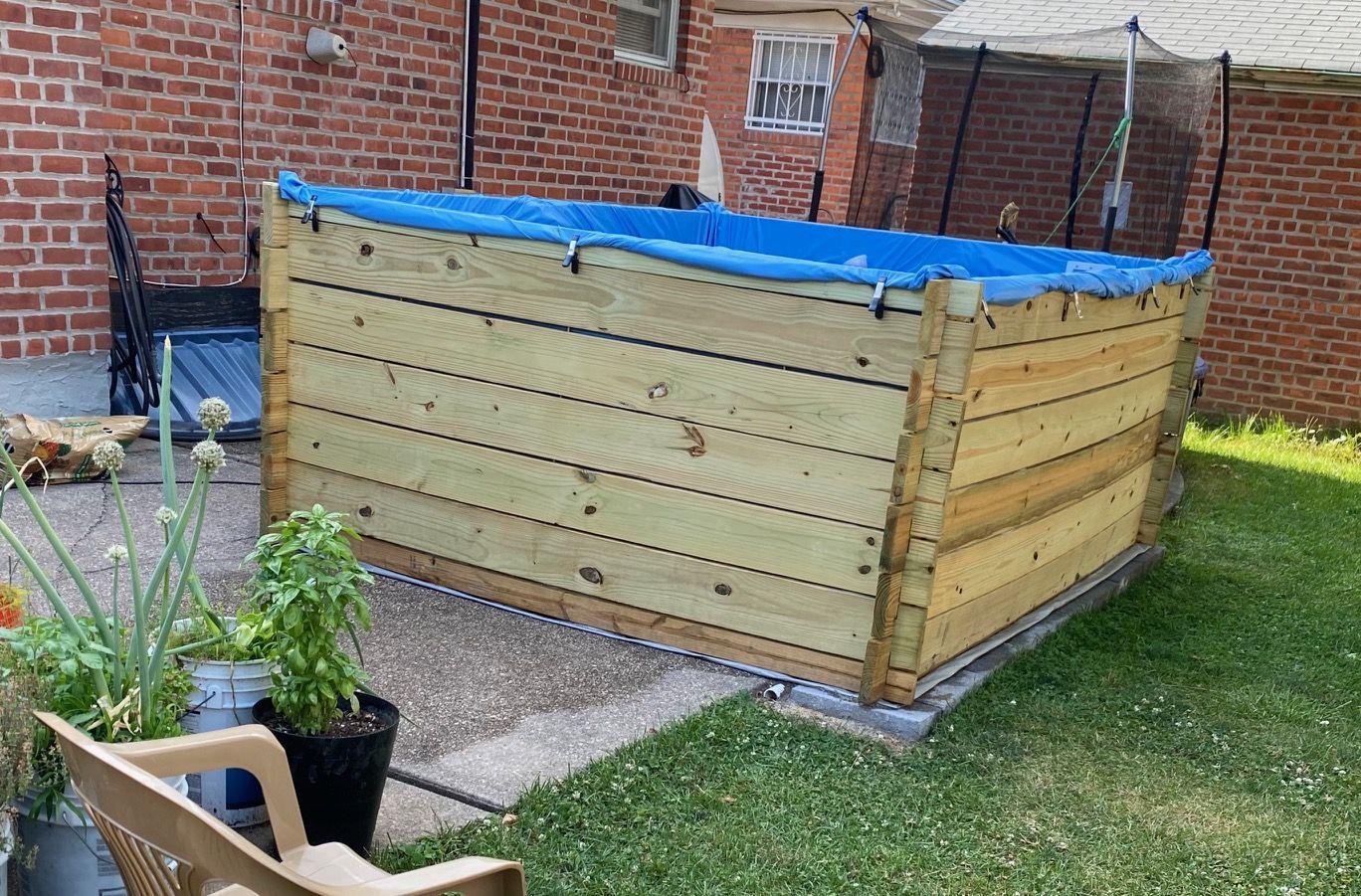 Diy Pressure Treated Lumber Swimming Pool In Progress Swimming Pools Building A Pool Lumber