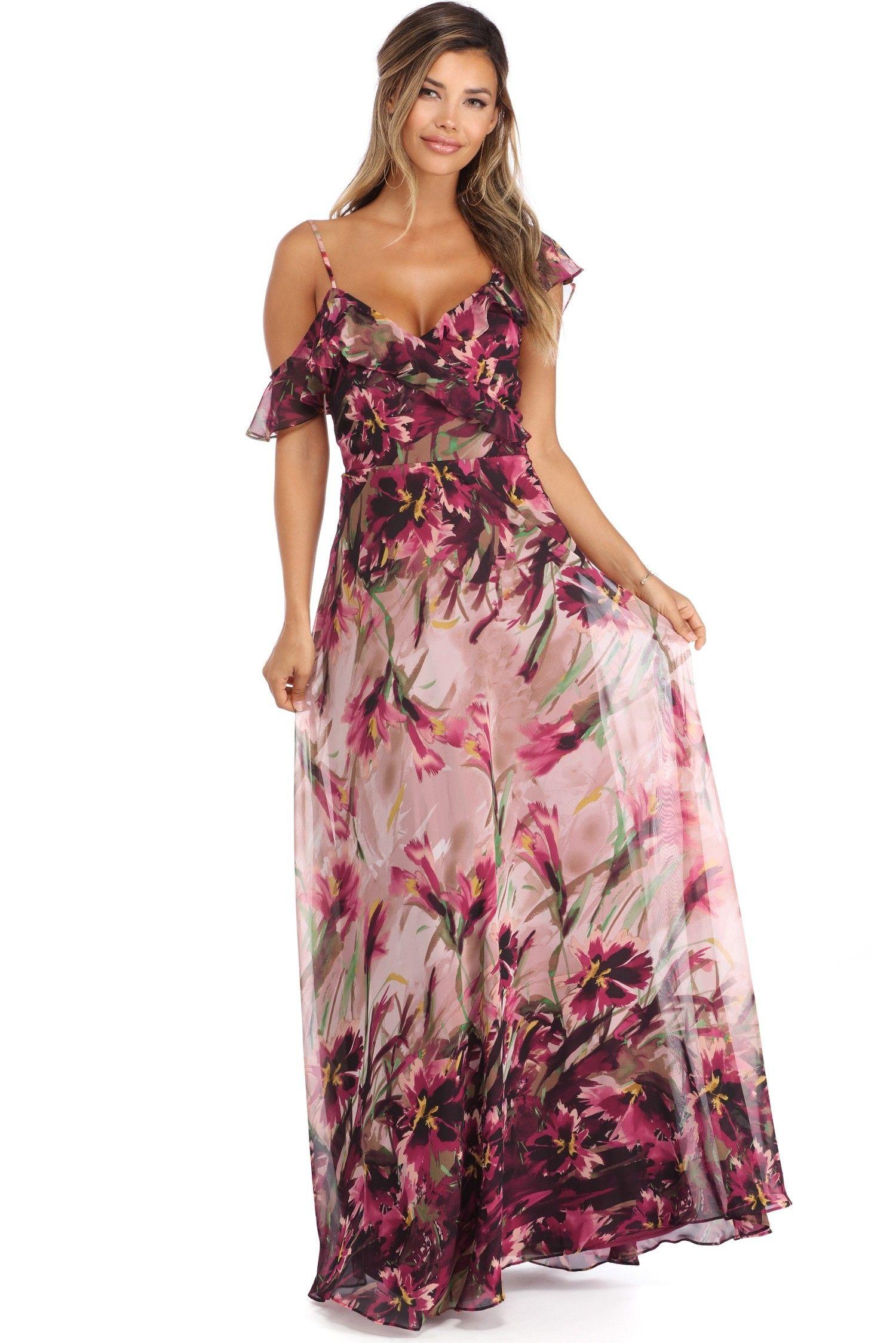 Abigail Burgundy Floral Chiffon Dress   formal dresses   Pinterest