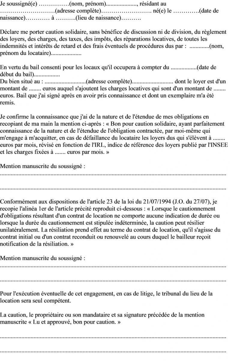 modele de lettre pour caution Modèle de lettre déclaration engagement du garant de caution  modele de lettre pour caution