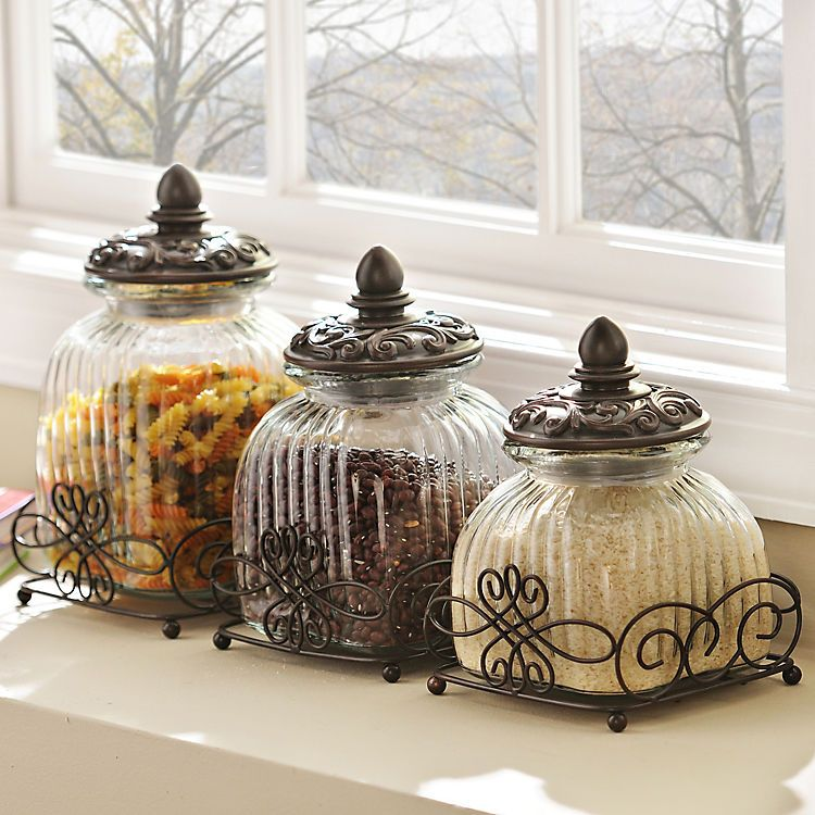 Awesome Product Details Loop Glass Canister Set Of 3 Kitchen Home Interior And Landscaping Ologienasavecom