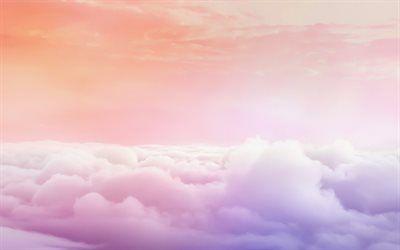 Télécharger fonds décran nuage rose, ciel, art, ligne dhorizon