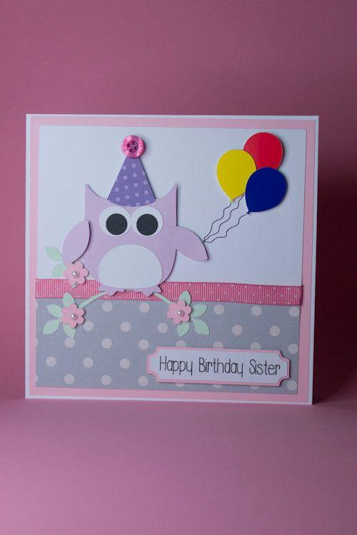 Owl With Balloons Birthday Card Female Birthday Card Birthday Card