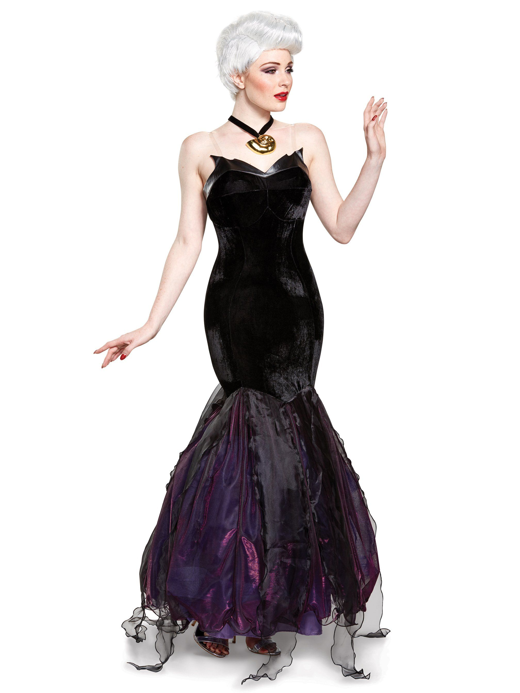 27b2ef176 This costume features a more stylized Ursula look with a strapless black  velvet dress and purple accents. Could also work for malificent. The Little  Mermaid ...