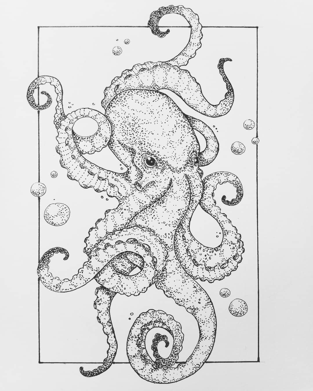 Photo of Octopus #drawing #inkdrawing #animaldrawing #dotwork #blackwork, #animaldrawing #Blackwork # …