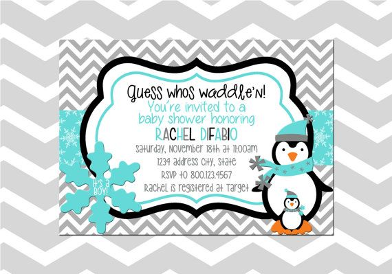 Penguin Baby Shower Invitation Card Baby By