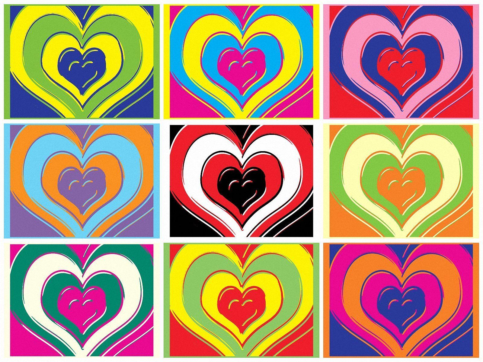 Bright Love Heart Pop Art Andy Warhol A4 Size Satin Paper