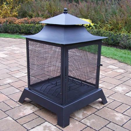 Pagoda Style Full View Fire Pit | WoodlandDirect com