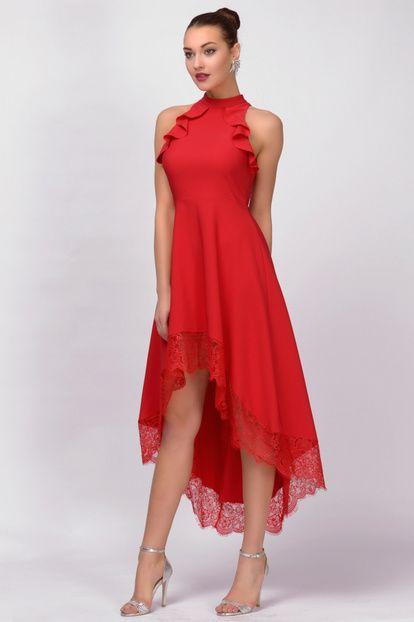 Kadin Kirmizi Asimetrik Kesim Abiye Elbise Elbise Modelleri Moda Stilleri The Dress