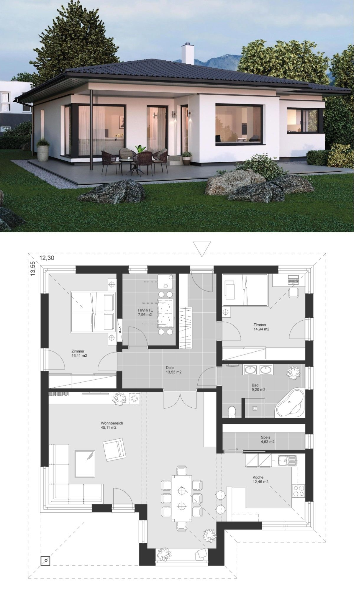 Design bungalow modern mit walmdach architektur 3 zimmer for Fertighaus winkelbungalow