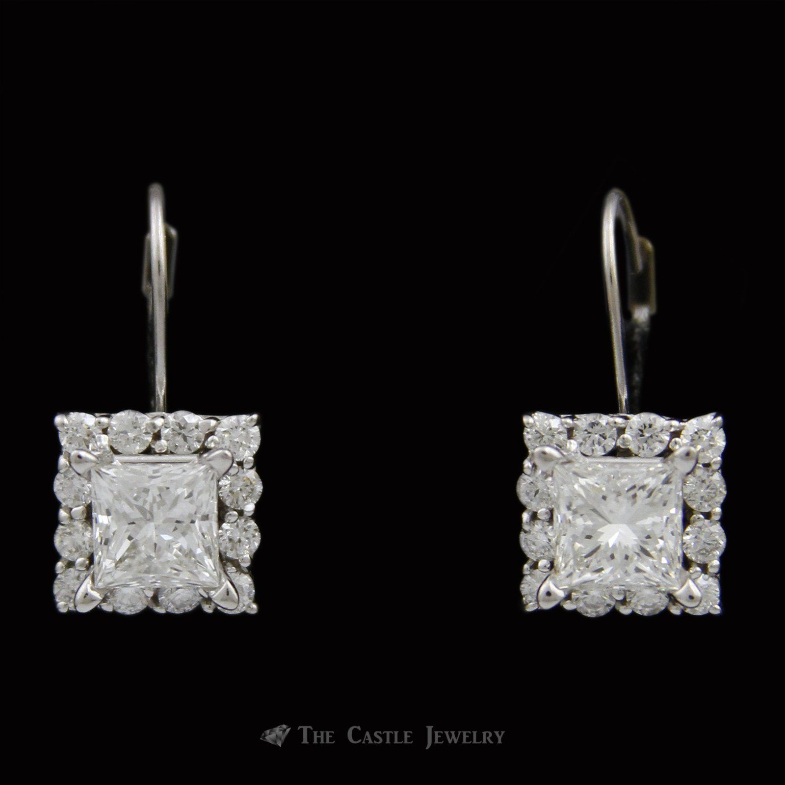 Lever Back Diamond Earrings w Princess Center& Diamond Bezel 2 75