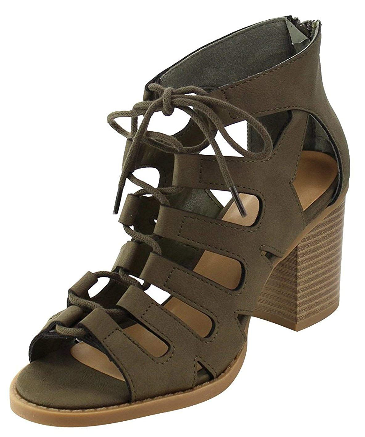 fe479f998ca Cambridge Select Women s Caged Cutout Open Toe Lace-up Chunky Stacked Block  Heel Ankle Bootie     Sincerely hope that you do like our picture.