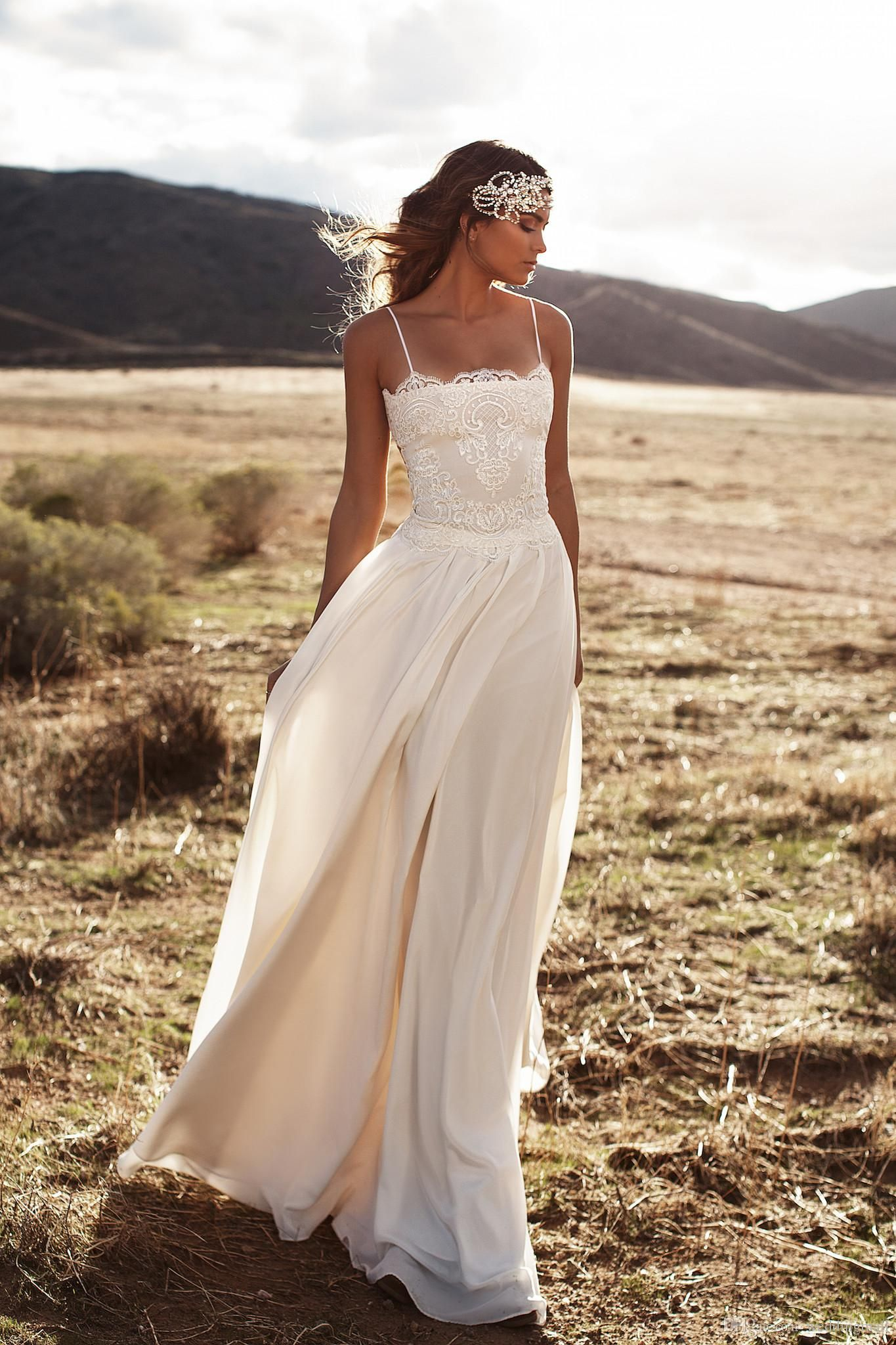 Simple and cheap wedding dresses  Cheap Vintage Lace Lurelly Beach Wedding Dresses Spaghetti A Line