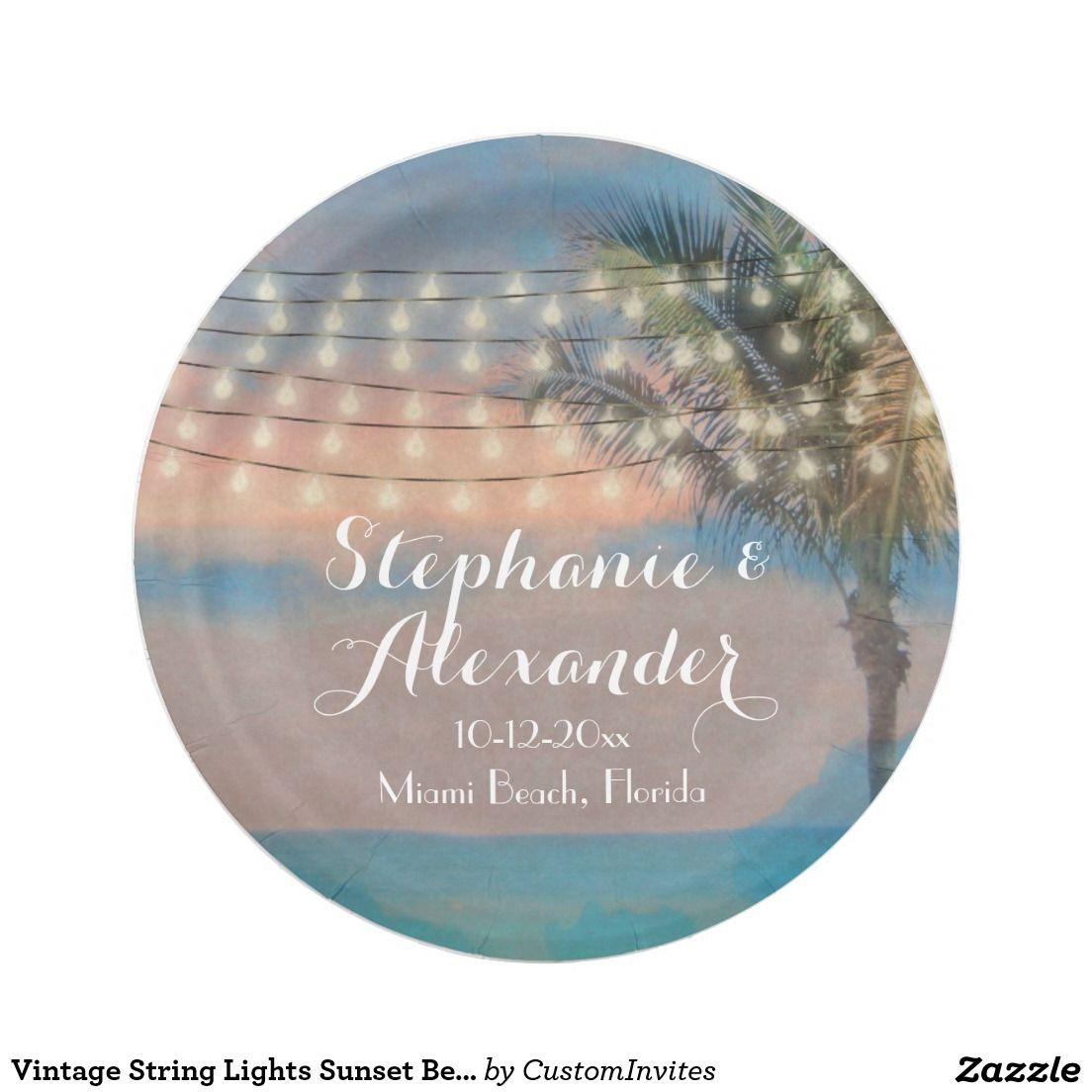 Vintage String Lights Sunset Beach Wedding Paper Plate  sc 1 st  Pinterest : paper plates for wedding reception - pezcame.com
