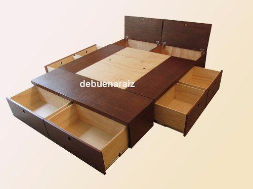 base cama beta minimalista recamara colchón cajones | Muebles ...