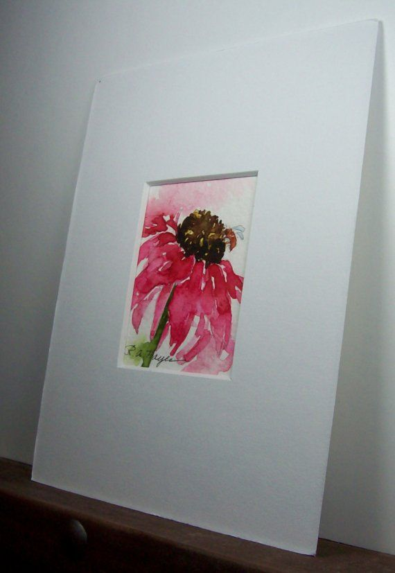 """This is an original watercolor painting, a part of my series of miniature wildflower studies. The painting measures 1 ½ """" x 2 """". It comes in a brand"""