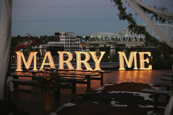Bright Event Productions, Marry Me Marquee Letters Proposal, Acme - event proposal letters