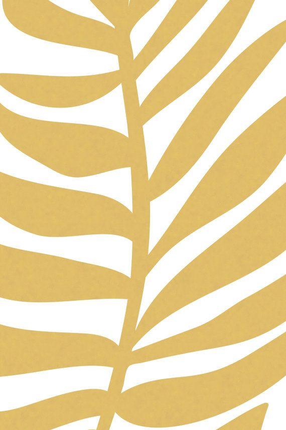 Tropical Leaf Art Print, Palm Leaf Print, Gold Decor, Large Art ...