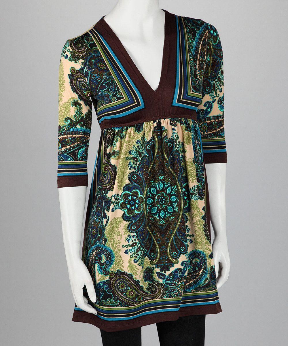 Teal & Avocado V-Neck Dress