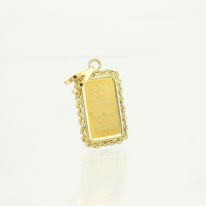 Ubs 1 Gram Gold Bar Pendant 999 9 Gold Bar Pendant Gold Bar Bar Pendant