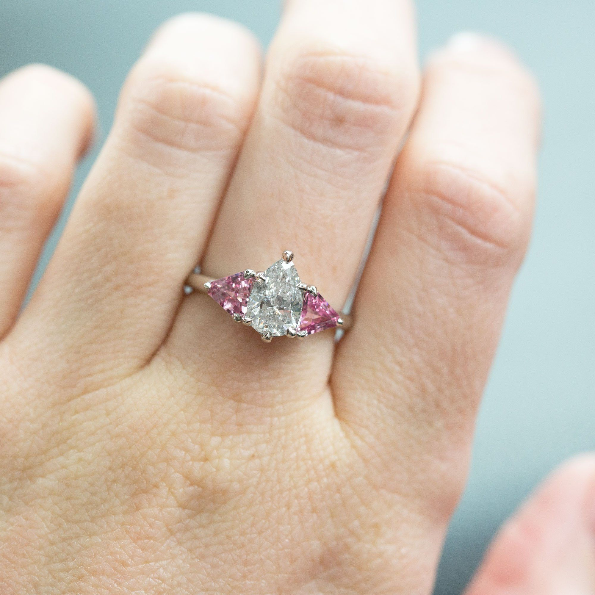 79958ba353733 1.20ct Pear Shaped Diamond and Pink Spinel Three Stone Ring in ...